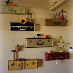 Just have to find the suitcases and I'm going to do this in my new york, London Paris themed guest room. How cute :)