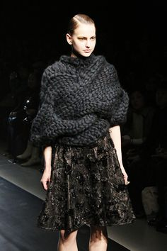 Sculptural Knitwear - oversized cable knit sweater // Johan Ku Fall 2014