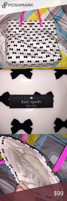 🎀🎀Kate Spade bow bag!!🎀🎀 Super cute Kate Spade bag!!! I bought it with the matching wallet!!! If you want both I will post pics of the wallet too!! I used the bag once, just a little too big for my liking!!😝🎀👍🏼 you could use it for a school bag or a computer bag!!! 😄Firm on the price if you want the wallet if not MAKE AN OFFER!!😄 kate spade Bags Shoulder Bags