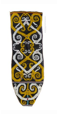Indonesian Beadwork, Kenyah-Kayan Dayak group, East Kalimantan or Upper Mahakam river area, Borneo, Indonesia. late 19th or early-20th century (43x14cm) #dayak #indonesia