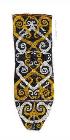 Indonesian Beadwork, Kenyah-Kayan Dayak group, East Kalimantan or Upper Mahakam river area, Borneo, Indonesia. late 19th or early-20th century (43x14cm) #dayak #indonesia