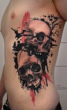 Beautiful black skulls with tree and birds tattoo on ribs by ILOna
