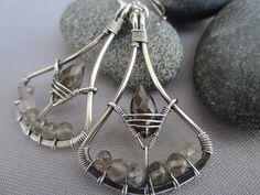 Silver Wire Earrings/ Silver Earrings w. Smokey Quartz/ Artisan Earrings/Wire Wrapped Earrings