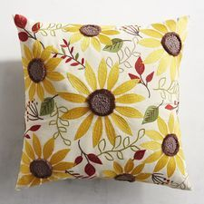 Vibrant, strong and ruggedly beautiful, sunflowers just make you smile. Embroidered with wonderful color and texture, our UV-resistant pillow is bound to be a bright spot on your patio. Diy Pillows, Outdoor Throw Pillows, Decorative Pillows, Good Morning Flowers, Handmade Christmas, Needlework, Hand Painted, Make It Yourself, Embroidery