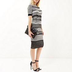 Grey stretch knitted stripe dress - bodycon dresses - dresses - women