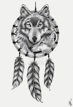 Wolf Dreamcatcher Tattoo Ideas