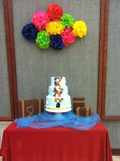 Disney UP cake by Kim Ellis.  I like the Pom Poms to make it gave more texture than just balloons.