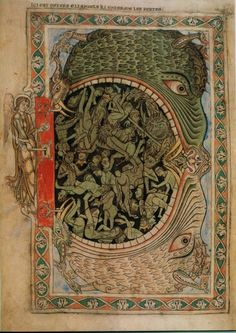 """The Mouth of Hell from the Winchester Psalter, 1220s. """"As he finished speaking all these words, the ground that was under them split open; and the earth opened its mouth and swallowed them up, and their households, and all the men who belonged to Korah with their possessions."""" (Book of Numbers 16:31-33)."""