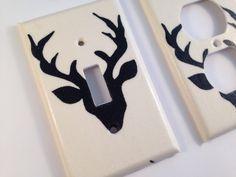 Black Deer Light Switch Cover / Deer Nursery Decor / Cabin Decor/ Lodge Decor / Antler Decor / Man Cave Decor / Deer Decor / Rustic Decor by COUTURELIGHTPLATES on Etsy https://www.etsy.com/listing/263098356/black-deer-light-switch-cover-deer