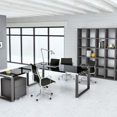 Black Glass desk with chrome frame. Glass in many colors is very durable and very chic Business Office Decor, Modern Office Desk, Glass Office Desk, Desk Office, Office Interior Design, Office Interiors, Office Designs, Black Glass Desk, Desks For Small Spaces