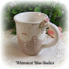 Whimsical Bliss Studios - Taupe Lace Mug