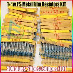 新しい600ピース30種類各値金属皮膜抵抗パック1/4ワット1%抵抗盛り合わせキットセット