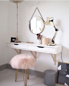 Scandinavian Dressing Table Featuring The Perfect Mongolian Sheepskin Stool  (Lust Living)
