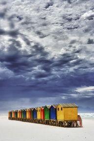 Beach Huts in Muizenberg, Cape Town.