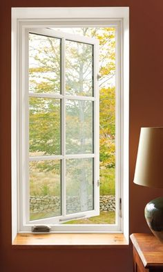 Windows Casement Windows Of White Color And Fiber Materials Table Lamp In The Bedroom Modern Style of Casement Windows With Grids. Blinds Between Glass. Casement Windows, Windows And Doors, Marvin Windows, Door Images, Window Types, Bathroom Windows, Kitchen Windows, Window Replacement, Kitchens