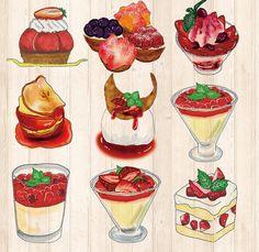 Illustration : Dessert Bento Recipes, Fruit Recipes, Dessert Recipes, Food Art, A Food, Food And Drink, Cute Food, Yummy Food, Desserts Drawing