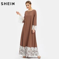 SheIn offers Floral Lace Detail Kaftan Dress & more to fit your fashionable needs. Abaya Mode, Mode Hijab, Abaya Designs, Plus Zise, Hijab Stile, Muslim Dress, Caftan Dress, Kaftan Abaya, Floral Lace Dress