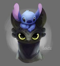 Those Eyes_Toothless & Stitch