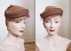 1940s Hat - 40s Hat - Brown Veiled Wool Hat on Etsy, $38.00