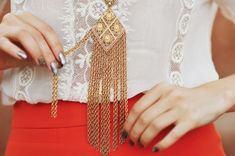 gold dangly necklace