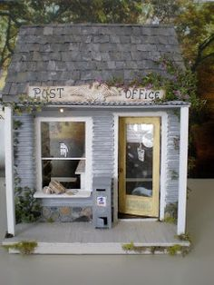 Now why can't the real post office look like this? I made this dollhouse post office after one of my customers, Karissa, told me her lit. Miniature Houses, Miniature Dolls, Mini Houses, Post Office, Dolly House, Cinderella Moments, Tiny World, Shop Fronts, Modern Dollhouse