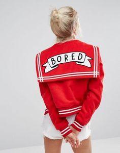 """Университетская куртка с надписью """"Bored"""" Lazy Oaf"""