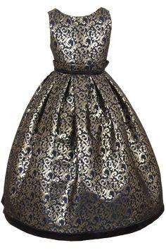 Navy Blue & Shiny Gold Jacquard Christmas Dress with Fan Pleated Waist & Satin Trim (Sizes 2T - 12)