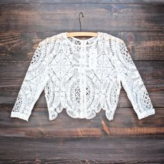 Lioness sheer crochet lace crop top in white - shophearts - 1