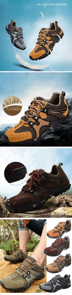 Men Mesh Hiking Slip Resistant Metal Buckle Outdoor Sport Sneakers