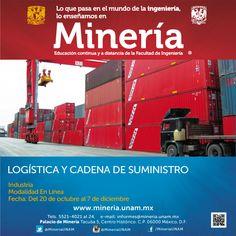 Curso a distancia Logística y Cadena de Suministro del 20 de octubre al 7 de diciembre http://www.mineria.unam.mx/detalle_evento.php?id=4170&tipo=2&mod=2