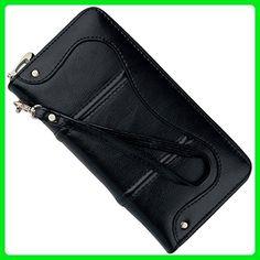 YALUXE Women's Large Capacity Leather Zip-Around Wristlet Wallet Black - Wallets (*Amazon Partner-Link)