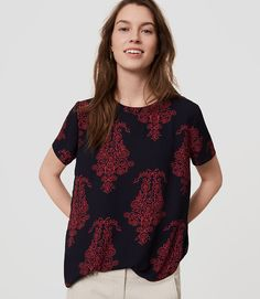 Primary Image of Floral Scroll Clean Tee