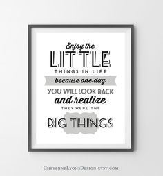 Enjoy The Little Things - Robert Brault 8x10 inch Typographic Quote Poster Print, Art Deco, Motivational wall decor.