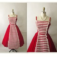 Vintage 1950's Holiday Red & White,  Velvet & Lace Cocktail Party Dress