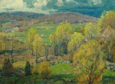"""Budding Maples,"" John Fabian Carlson, oil on canvas board, 12 x 16"", Vose Galleries."