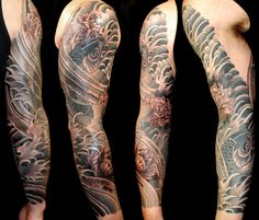 Traditional Japanese koi and peony sleeve by Aaron Bell at Slave to the Needle in Seattle WA Koi Tattoo Sleeve, Japanese Sleeve Tattoos, Tattoo Sleeve Designs, Arm Tattoo, Asian Tattoos, Boy Tattoos, Body Art Tattoos, Tattoos For Guys, Tatoos