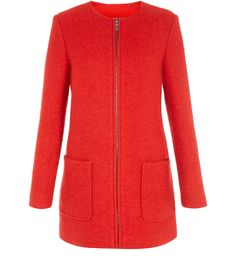 Red Collarless Zip Front Coat, New Look Backstage, New Look, Purple, Blue, Fall Winter, Zip, Yellow, Coat, Sweaters