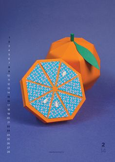 """London based creative production company Nearly Normal published this calendar for 2014 titled """"New Flavours"""". The calendar includes unique fruit paper crafts. Web Design, Grid Design, Graphic Design, Design Art, Architecture Origami, Deco Fruit, Paper Fruit, Kalender Design, Creative Calendar"""