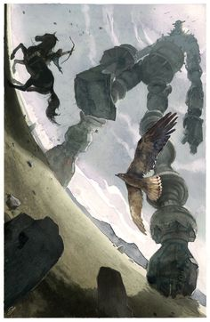 [ Shadow of the Colossus ワンダと巨像 ] Water colour illustration by Chad Gowey Gillian and Hunter vs the Golem Zunabar Shadow Of The Colossus, Shadow Art, Art Et Illustration, Video Game Art, Fantasy Creatures, Geeks, Oeuvre D'art, Character Art, Character Design