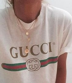 layered necklaces + gucci tee
