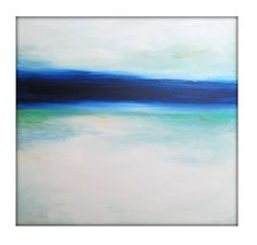 Large Abstract Painting on Canvas Modern Acrylic Skyline- 40x40- Blues, White, Greens, and more by Gina Perillo