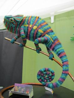 Is it just just me is is this feakin' awesome?~ Felted Chameleon at Sturgeon Bay art show 2013