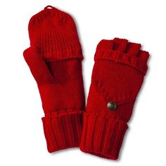So cute!  I need to buy a red winter coat.   Women's Solid Fliptop Gloves