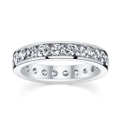 14k White Gold 2 1/2ct TDW Diamond Eternity Wedding Band (H-I, SI1-SI2) (Size 8), Women's