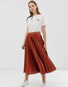 6c0af07d8bb ASOS DESIGN pleated midi skirt in satin Summer Skirts