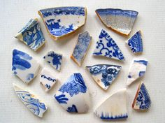 Blue Sea Pottery Shards with Patterns by TidesTreasures on Etsy, $14.00
