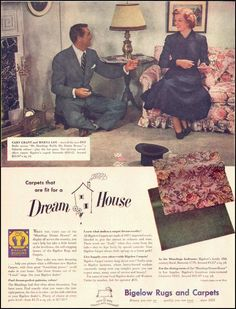 Cary Grant and Myrna Loy ~ Bigelow Rugs and Carpets,