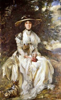 James Jebusa Shannon (1862-1923) : Portrait of Lady Barber in a Landscape (signed : 184x140 cm)
