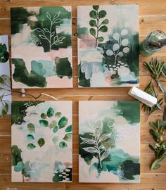 Botanical Abstracts Floor home painting illustration Art Inspo, Kunst Inspo, Painting Inspiration, Diy Canvas Art, Acrylic Painting Canvas, Abstract Watercolor, Abstract Art, Aesthetic Painting, Art Design