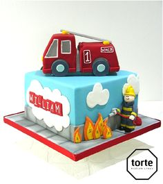 Fire engine birthday cake #birthday #cake #fireengine